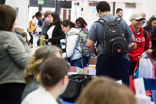A crowd of students at the 2018 Career Day