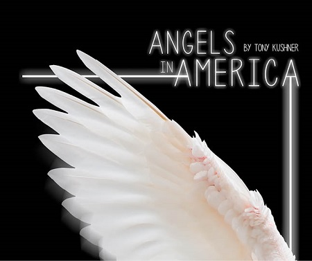 white wing on black backround, reading: Angels in America by Tony Kushner