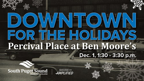 A graphic with blue text that reads Downtown for the Holidays
