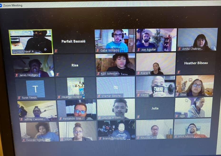 Screenshot of Zoom meeting with Black Scholars and IGNITE students