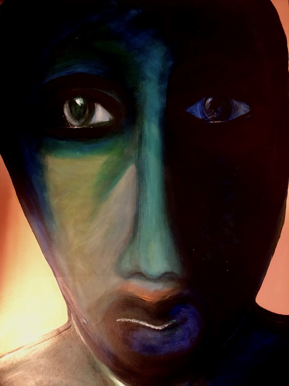 Painting of a human face using dark colors