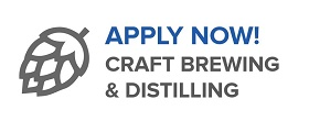 "graphic of hop with text stating ""apply now - craft brewing & distilling"""