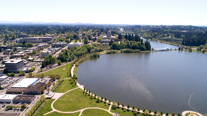 An aerial view of Olympia