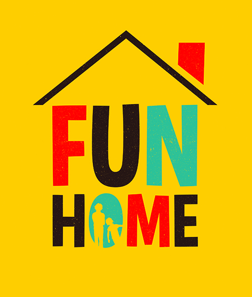 FUN HOME logo with red, blue, and black text situated house-like under a small roof and chimney. Two human silhouettes peek out from the 'O'.