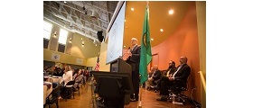 Governor Jay Inslee at a podium