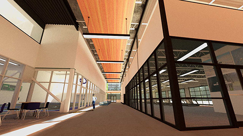 A sunny interior rendering of the Health and Wellness Center