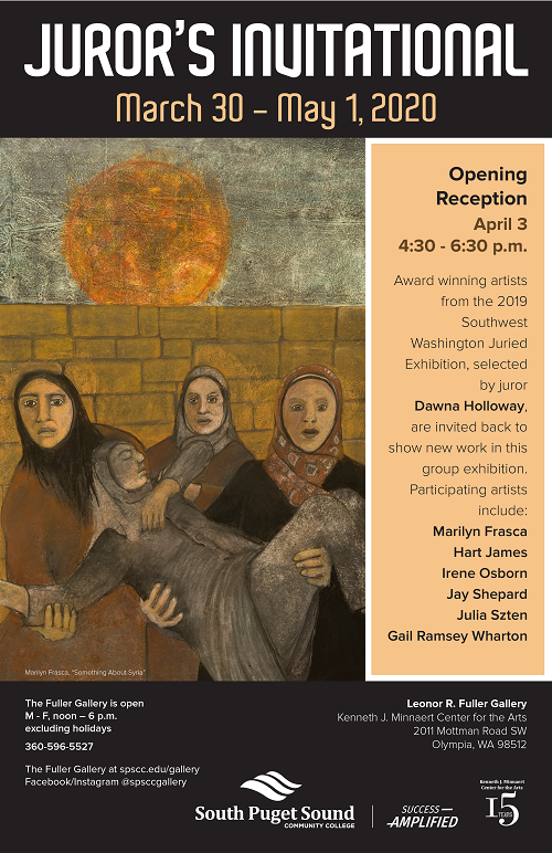 Juror's Invitational poster with a painting and list of participating artist names.