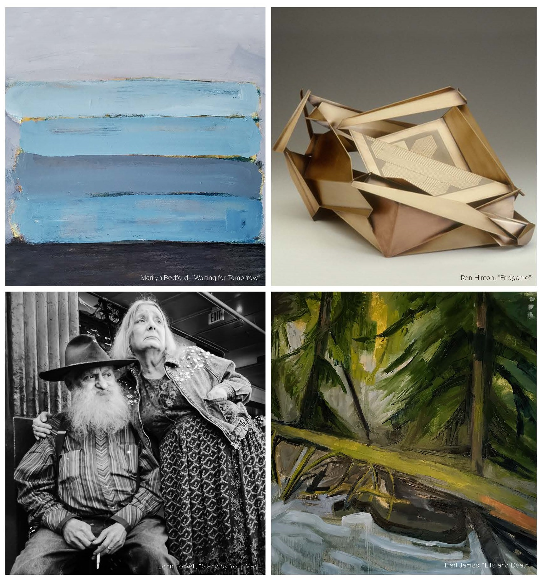 A grid with four images from the artists in the exhibit