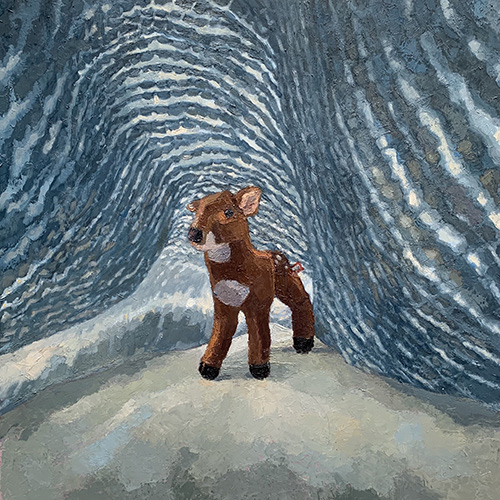 """Dougie,"" a painting by art professor Liza Brenner, depicting a baby deer against a blue background"
