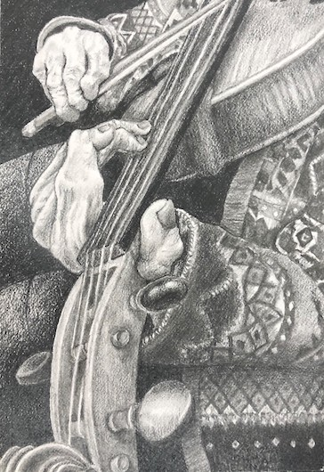 Sketch of hands playing a violin