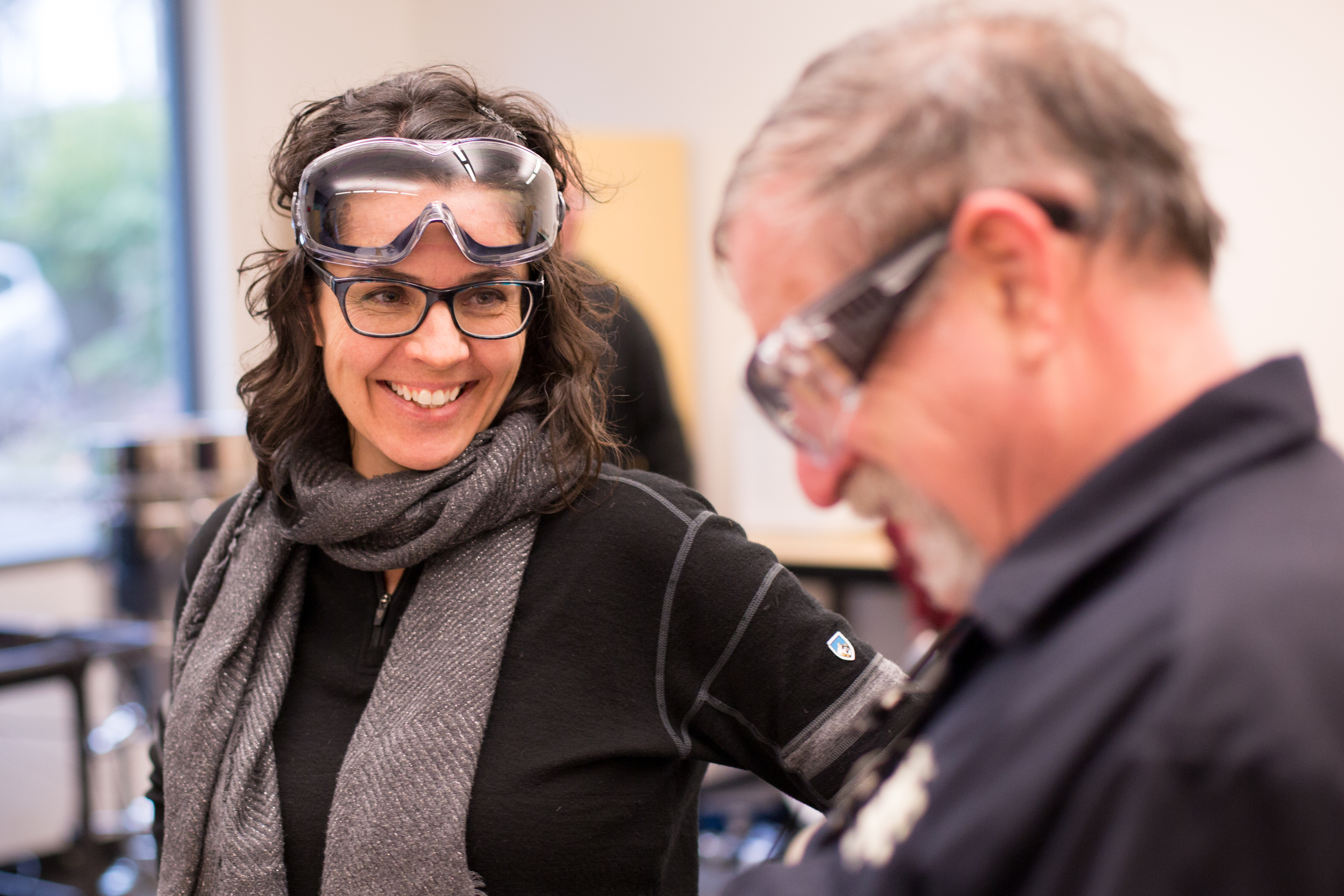 SPSCC student Myriam Boyer in the lab with goggles on head