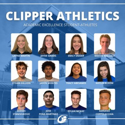 Graphic image with head shots of student-athletes