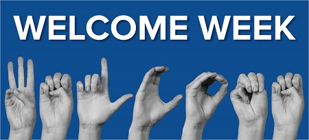 Blue Welcome Week graphic with hands signging W E L C O M E
