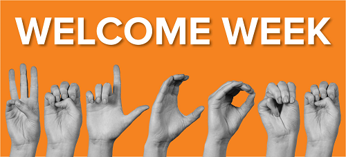 Hands using sign language to spell Welcome