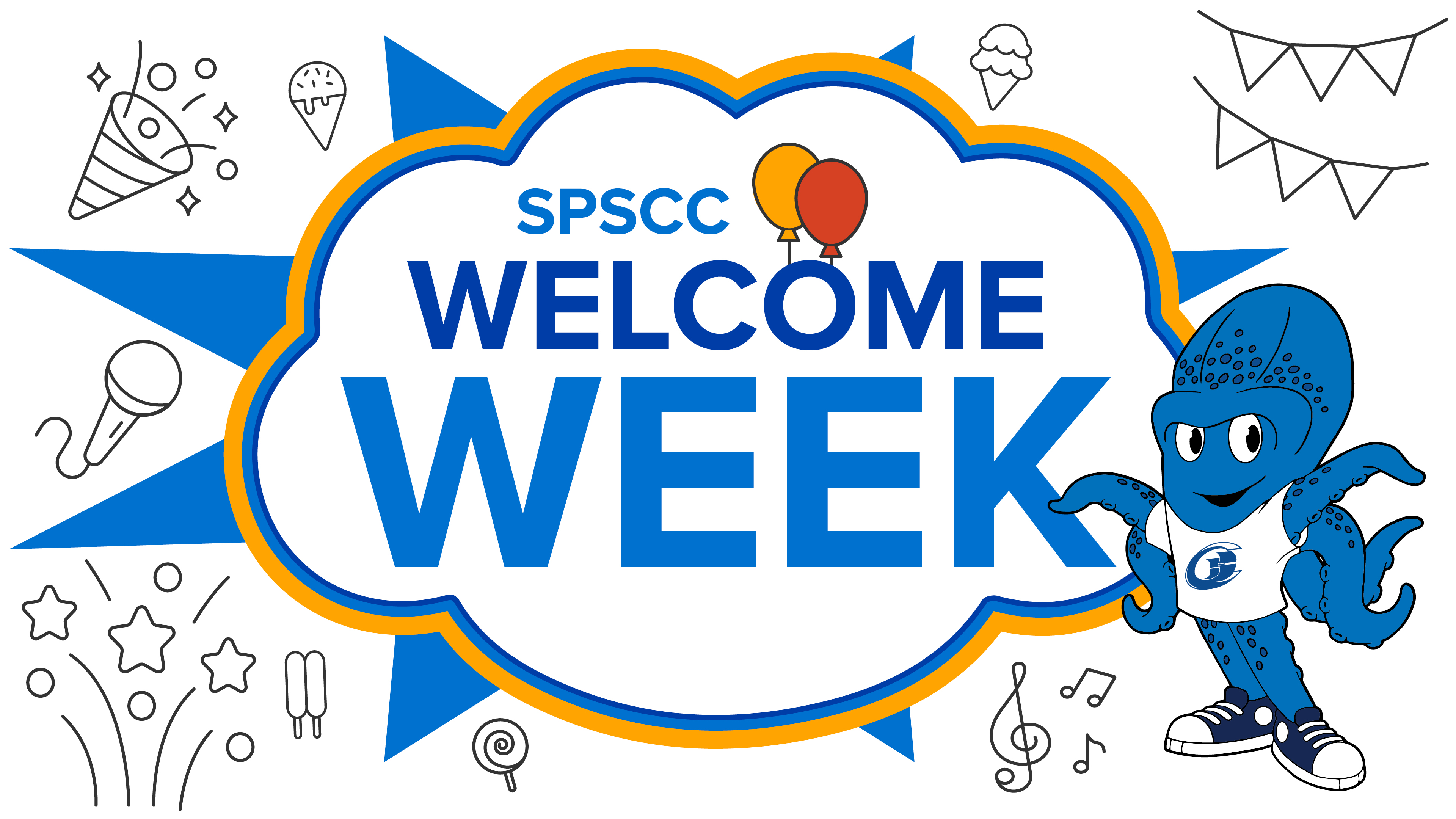 """Graphic stating """"SPSCC welcome week"""" with graphic of Percy the Kraken, confetti, and party balloon shapes"""
