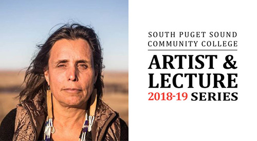 Photo of Laduke with Artist & Lecture logo graphic