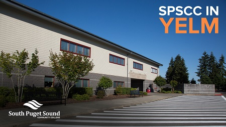 "Yelm high school exterior shot with ""SPSCC in Yelm"" and SPSCC logo"