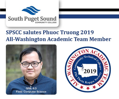 SPSCC logo and photo of Phuoc Truong with caption: SPSCC saluts Phuoc Tuong 2019 All-Washington Academic Team Member