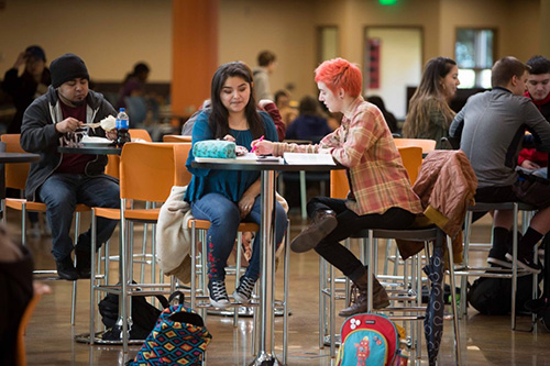 Two SPSCC students study together at the Student Union Building