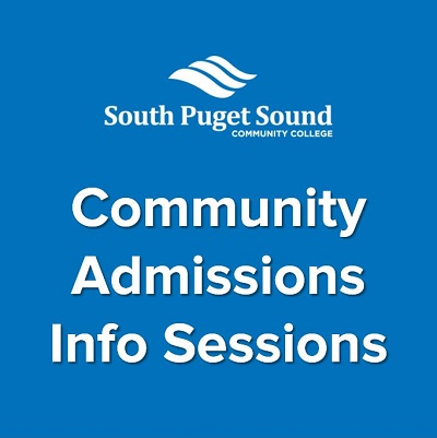 """blue graphic with white text including SPSCC logo and """"Community Admissions Info Session"""""""
