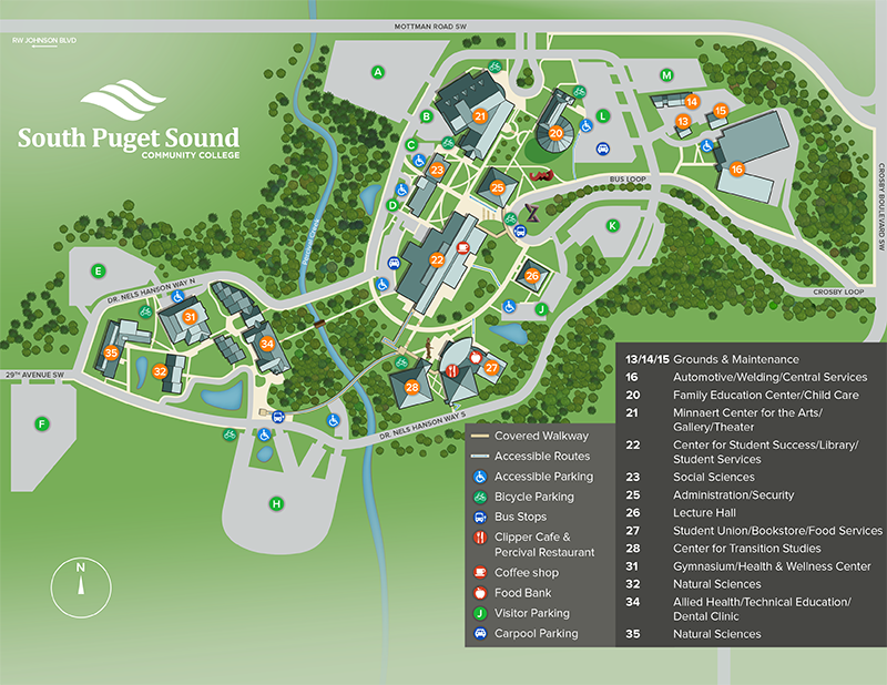 Maps & Directions | South Puget Sound Community College Campas Map on