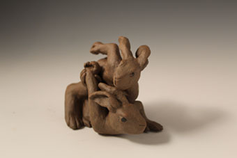Wrestling Hares by Joe Batt