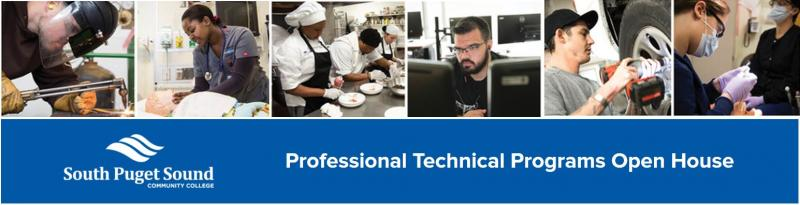 Professional Technical Programs Open house graphic with images of welding, nursing, computer science, culinary arts, automotive technology, and dental assisting