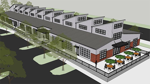 Am architect's rendering of the upcoming brewery
