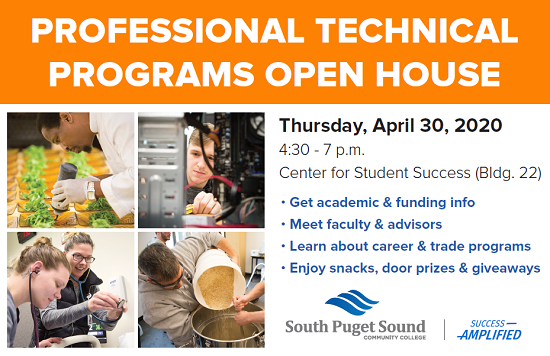 graphic promo for Professional Technical Programs Open House on April 30, 2020
