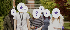 students with stars and question marks over face