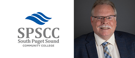 SPSCC logo and Trustee Drew smiling with glasses and tie
