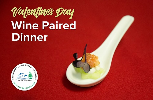 valentine's day wine paired dinner graphic with percival restaurant logo